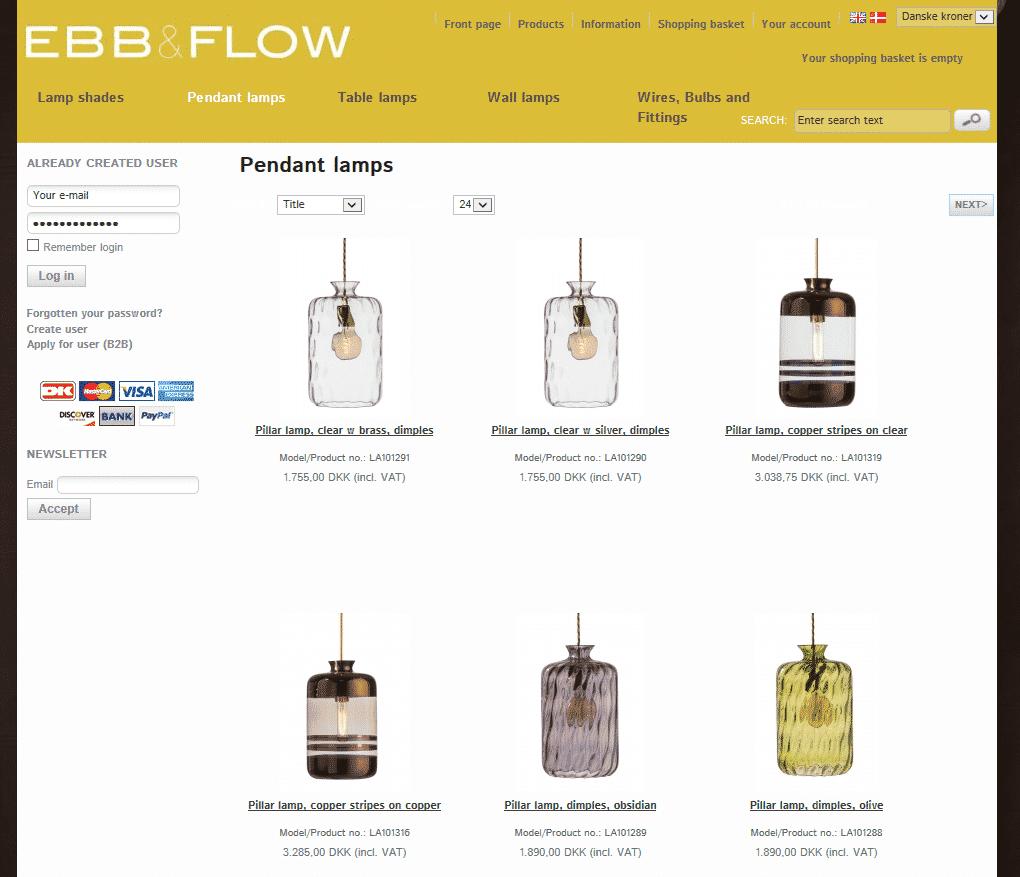 EBB & FLOW webshop produktoversigt