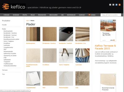 Keflico.com produkter screenshot