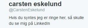 Twitterprofil for Carsten Eskelund