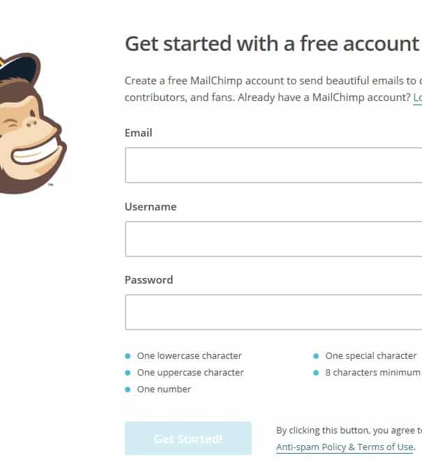 MailChimp Sign up form