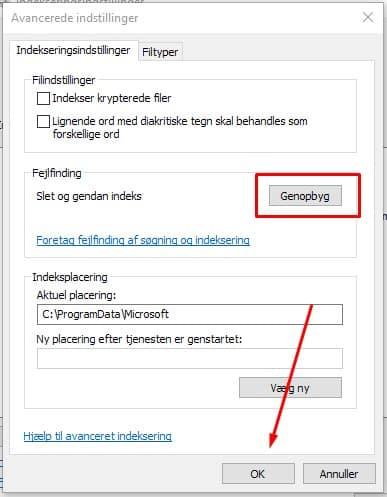Outlook søgning virker ikke 8