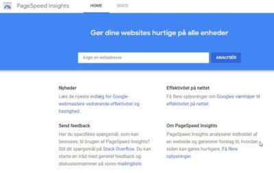 Skærmprint fra Googles værktøj til hastighedstest.