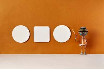 A robot tour guide with a pointer. Museum exhibit and education concept