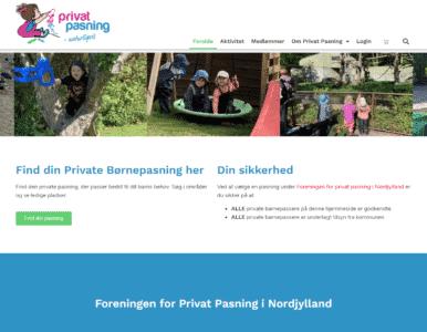 Screenshot af forsiden privatbornepasning.dk